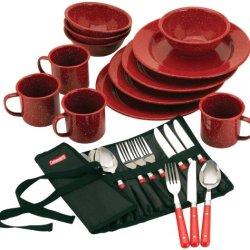 Coleman Speckled Enamelware Dining Kit (Red)