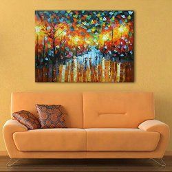 Gift For Family High Quality Romantic Raining Street Knife Oil Painting On Canvas