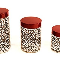 Glass Storage Canister Jars With Red Lids And Cheetah Print Set Of 3 32109