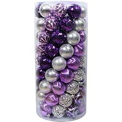 Set Of 101, Purple/Silver ,Shatterproof Christmas Ornaments,