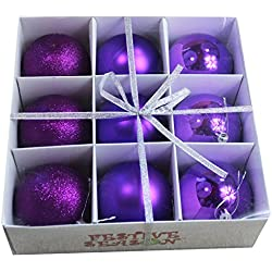"9pk 3.15"" (80mm) Purple Christmas Ball Ornaments - Shinny/Matte/Sparkle with Storage Box"
