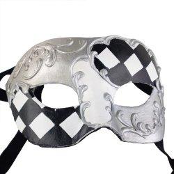 Nati Men'S Paper Masquerade Mask Color Silver Black White