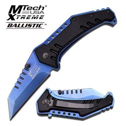 Mtech Extreme Spring Assisted Tactical Folding Knife Blue W/ Pocket Clip (Limited Edition