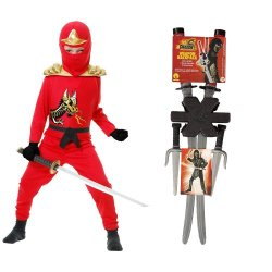 Red Ninja Avengers Series Ii Child Costume With Dragon Ninja Weapon Backpack, Xl