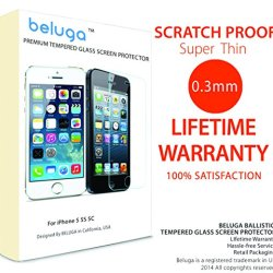 Iphone 5S/ Iphone 5C/ Phone 5, Premium Tempered Glass Screen Protector By Beluga®, Apple Iphone 5S/5/5C Premium Hd Clear Ballistic Glass Screen Protector - Protect Your Screen From Scratches And Drops - Maximize Your Resale Value - 99.99% Clarity And Touc