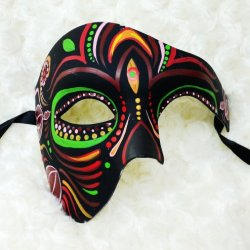Black Green And Red Half Face Mexican Sugar Skull Hand-Painted Paper Mache Mask