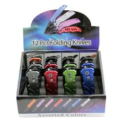 12 Piece Mini Automatic Tanto Blade Pocket Knives With Push Button And Safety Lock Comes Assorted Colors Yc-R-Fk-1012