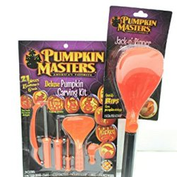 Pumpkin Masters Deluxe Carving Kit & Jack-O'-Ripper Scraper Scoop Halloween