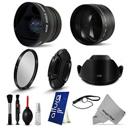 52Mm Essential Accessory Kit For Nikon Dslr (D5300 D5200 D5100 D5000 D3300 D3200 D3100 D3000 D90 D80) - Includes: 2.2X Telephoto And 0.43X Wide Angle High Definition Lenses + Tulip Flower Lens Hood + 52Mm Uv Filter + Center Pinch Lens Cap + Lens Cap Keepe