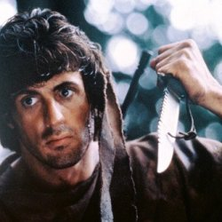 Sylvester Stallone In First Blood 24X36 Poster Rambo Holding Knife