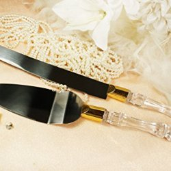 Wedding Knife And Wedding Cake Server Set Clear Gold With Personalized Engraved