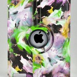 Livitech(Tm) Painting Art Design Series 360 Degree Rotating Cover For Apple Ipad 2 And Ipad 3 (Purple Green)