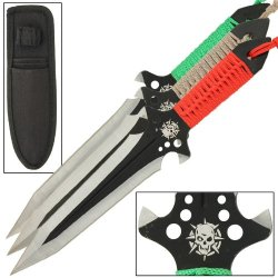 Hellseeker 3 Piece Multi Colored Throwing Kunai Knives