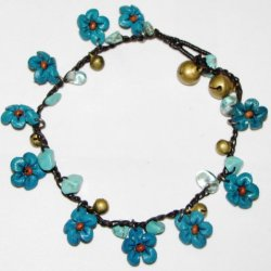 Flowers Anklet With Stones And Bells - All Hand Worked Leather - Turquoise