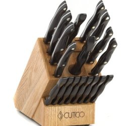 """Cutco Model 1818 Homemaker Set + 8 With #1725 Full Size Chef Knife...............18 High Carbon Stainless Knives & Forks With Classic Dark Brown (Often Called """"Black"""") Handles In Factory-Sealed Plastic Bags............#1748 Honey Finish Oak Knife Block, #"""