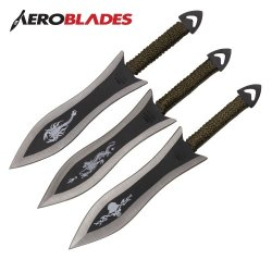 Set Of 3 6.5 Inch Paracord Wrapped Arrowhead Assorted Throwing Knives Aeroblades A28303