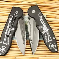 Black Executive Series Speedster Opening Knife Handle With Gun Mkf26-9.25''