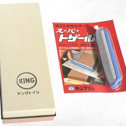 King Japanese Grit 1000/6000 Combination Sharpening Stone Kw-65 And Super Togeru Knife Sharpening Guide : Bundle - 2 Items