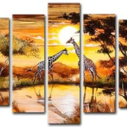 Sangu 100% Hand-Painted 5-Piece Giraffe Meeting In The Middle Oil Painting Gift Canvas Wall Art For Home Decoration