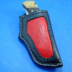 Custom Ostrich Leg Inlaid Sheath For Buck 110 Dyed Brown Knife Not Included