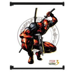 Marvel Vs Capcom 3 Deadpool Game Fabric Wall Scroll Poster (16X21) Inches