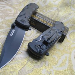 Tac-Force Assisted Opening Linerlock Smooth Black A/O Speed Rescue Knife
