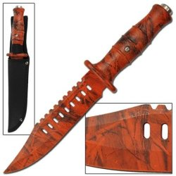 Chameleon Decoy Emergency Orange Camo Bowie Knife