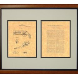 "Knife Attachment For Revolvers Patent Art Print In A Honey Glazed Wood Frame (16"" X 20"")"