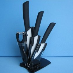 "New Arrival! 3"" 4"" 5"" Inch Aantiskid Handle Paring Fruit Utility Ceramic Knife Sets + Peeler + Acrylic Holder Block By Coolshiny"