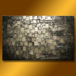 Ready To Hang Modern Abstract Oil Painting On Stretched Canvas