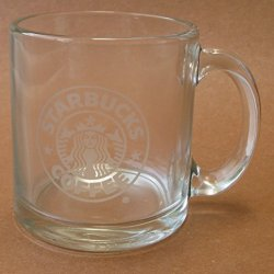Starbucks Clear Glass 13 Oz Coffee Mug Cup For Drinks / Drinking - Made In Usa