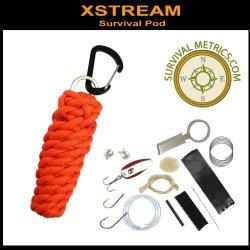 X*Stream Survival Pod - 550 Paracord & Survival Kit - Orange