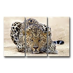 3 Piece Brown Wall Art Painting Large Leopard Attacking Mode Prints On Canvas The Picture Animal Pictures Oil For Home Modern Decoration Print Decor