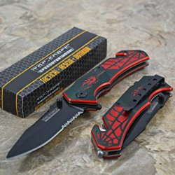Tac Force Assisted Opening Spider Web Design Handle Rescue Tactical Black Stainless Steel Blade For Hunting Camping Outdoor Knife Small - Bk/Red