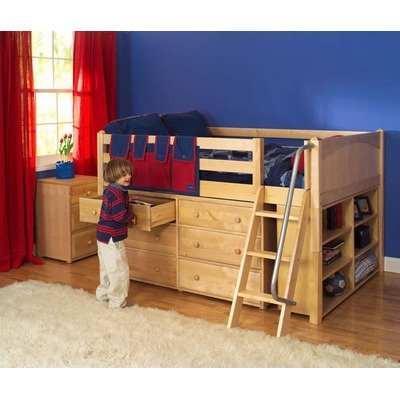 Image of Maxtrix Kids XL 1 / Large 1 Full Block Low Loft Bed with Dresser and Bookcase (XL 1 / Large 1)