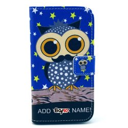 Bayke Brand / Motorola Moto E (Xt1021 / Xt1022 / Xt1025) Smartphone Fashion Pu Leather Wallet Flip Protective Skin Case With Stand With Credit Card Slots & Holder (Cute Owl Print 07)