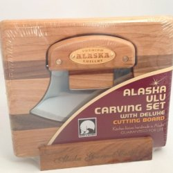 Alaska Ulu Carving Knife W/Cutting Board In Stand