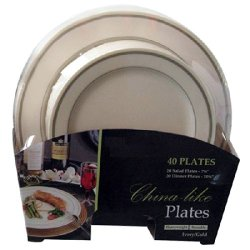 40 Piece Set Premium Quality Heavyweight Plastic Plates: 20 Dinner Plates And 20 Salad Plates (Ivory With Gold Rim)