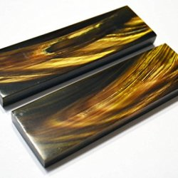 5_Inch Black Buffalo Horn Gold Streaks Scales Handle Set Pair Handles Material For Knife Making Blanks Blades Knives Custom