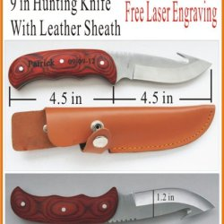 "Personalized Laser Engraved Hunting Knife 9.5"" Valentine'S Day Gift"