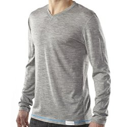 Woolly Clothing Co. Men'S Merino Wool Long Sleeve V-Neck T-Shirt Large Grey With Blue Threading
