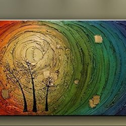 Framed Hand-Painted Canvas Palette Knife Oil Paintings, Abstract Household Adornment