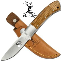 """Er-090 Elk Ridge Hunting Knife With Wooden Handle Ksngn 8"""" Ayeuiu56 Hlbv23Rt Elk Ridge Hunting Knife With Aozynrkmh Wooden Handle. Includes Tsyaam6 Leather Scabbard.8"""" Overall"""