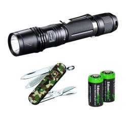 Fenix Pd35 850 Lumen Cree Xm-L2 U2 Led Tactical Flashlight, Victorinox Swiss Army Classic Knife, 58Mm, Camo With Two Edisonbright Cr123A Lithium Batteries.