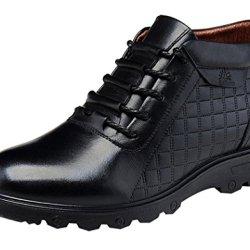 Mulinsen Men'S Cowhide Warm Fasion Sexy Plaid Zipper Shoes(9.5D(M)Us,Black)
