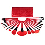 Makeup Brushes 24pcs Quality Natural Cosmetic Brush Set with Leather Pouch, 24 Count Bursh set For Eye Shadow, Blush, Concealer(Red)