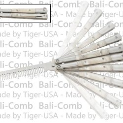Professional White Pearl Bali-Comb Butterfly Knife Practice Trainer Comb