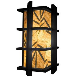 "Fai 15"" 3-Tiered Bamboo Leaf Paper Mache Shade Oriental Lamp With Wood Frame"
