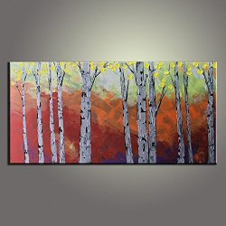 Palette Knife 10X20 In/25X50Cm Tree,Fine Art Superb Quality And Craftsmanship,Unframed Knife Painting Wall Art