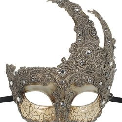 Redskytrader Womens Vintage Lace Mask One Size Fits Most Silver, Off White